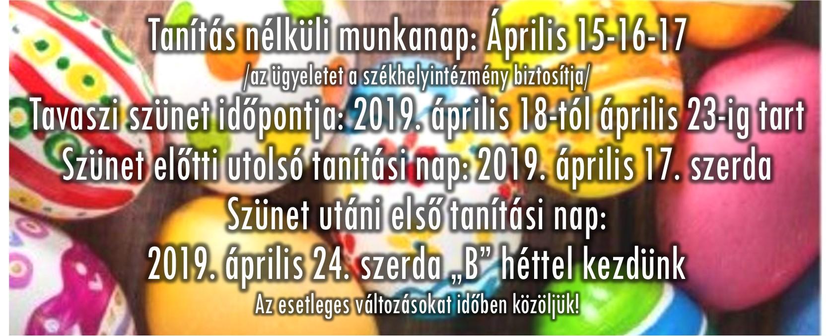 2019 tavaszi szunet